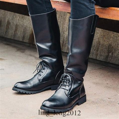 mens black riding boots new mens black leather mid calf long riding boots military