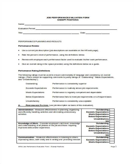 performance evaluation form 9 employee performance evaluation form sles free