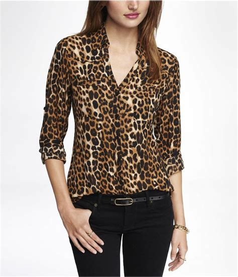 Leopard Print Sleeve Shirt leopard print convertible sleeve portofino shirt