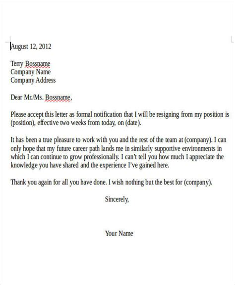 resignation letter from internship resignation letter template 6 free word pdf