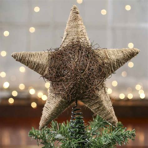 rustic jute and twig star tree topper new items