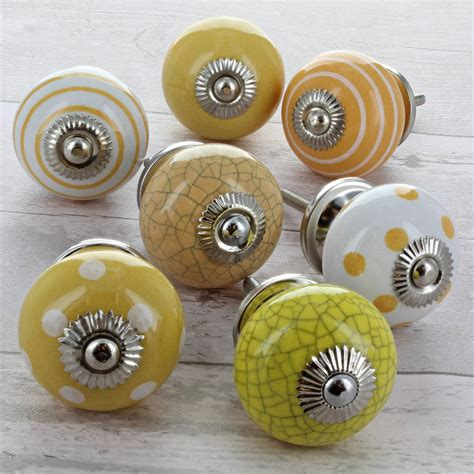 Yellow Ceramic Knobs by Yellow Ceramic Door Knobs Cupboard Drawer Pull Handles By