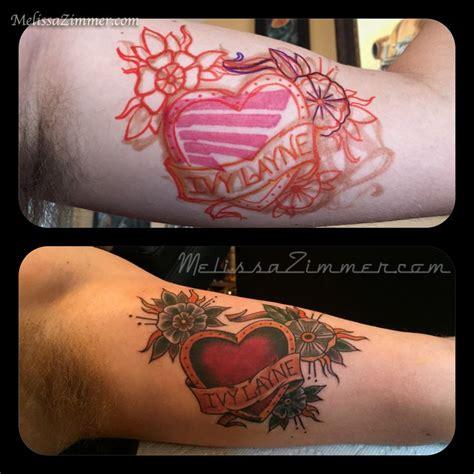 tattoo lettering cover up ideas melissazimmer coverup heart tattoo banner lettering inner