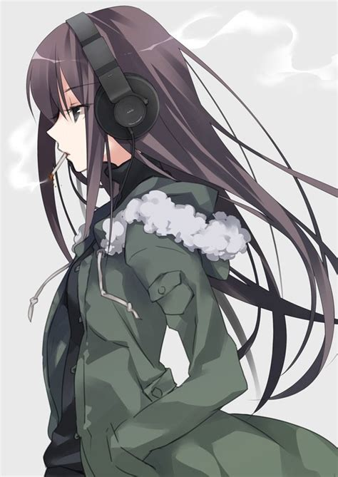 cute black hair anime girl with headphones give me pictures for cool anime girls with smoking