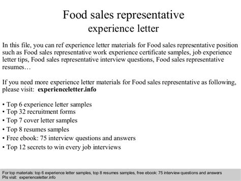 Food Sales Representative Cover Letter by Food Sales Representative Experience Letter