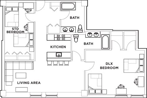 shared bathroom floor plans floor plans university crossings student housing