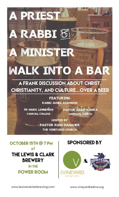 title thursday rabbi walked a priest a rabbi a minister walk into a bar 10 15 2015 helena montana lewis and clark