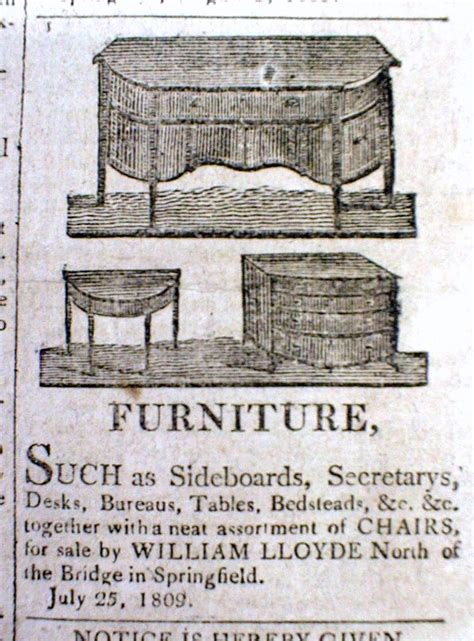 American Furniture Ad by 1809 Newspaper W Detailed Illustrated Ad For Federalist