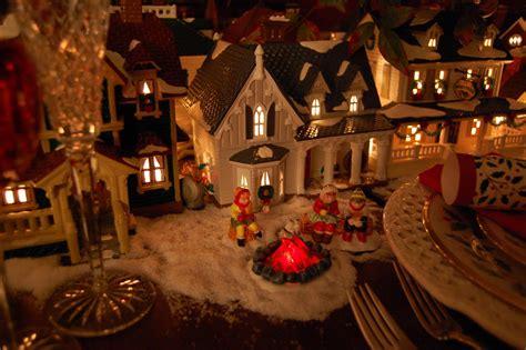 christmas table setting tablescape  dept  lit houses  lenox holiday china