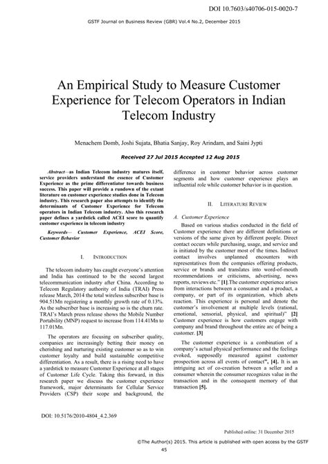 research paper on telecom sector in india an empirical study to measure customer pdf