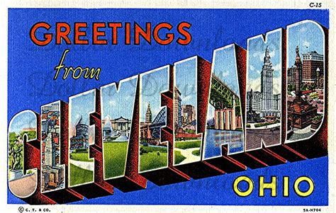 greetings from cleveland ohio vintage large letter postcard