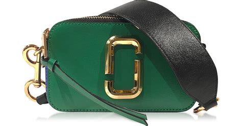 Tas Fashion Marc Snapshoop Ts 01 marc snapshot green grass saffiano leather small bag in green lyst