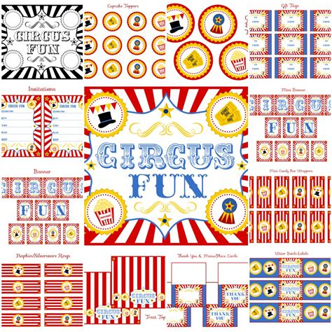 printable theme party decor free circus birthday party printables from printabelle