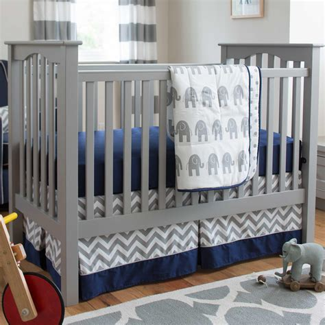 Navy And Gray Elephants 3 Piece Crib Bedding Set Baby Crib For Boys