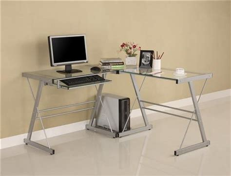 glass l shape computer desk with silver frame finish contemporary l shaped glass desk with silver steel frame