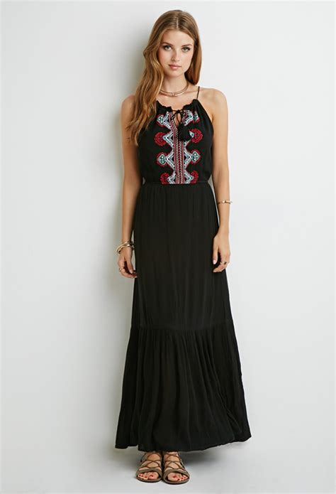 Maxi Dress Forever 8 Kode 7080 forever 21 embroidered halter maxi dress in black lyst