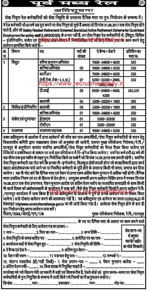 Apply For Railroad East Central Railway Recruitment 2017 Junior Engineer