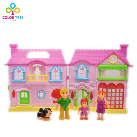 plastic doll house kids toy doll house 3d mini plastic electric doll house