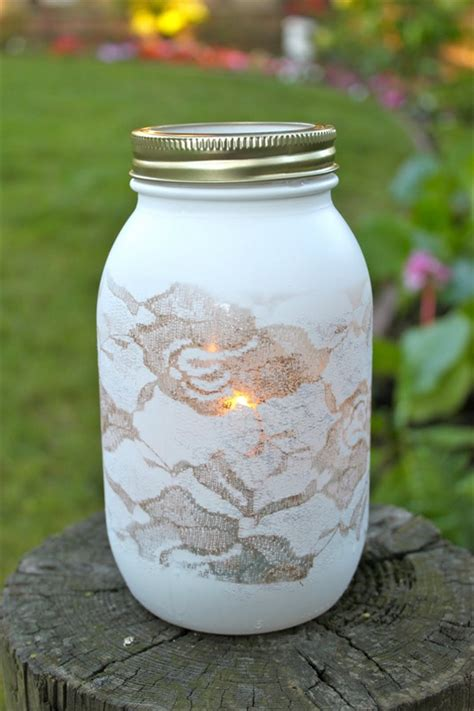 lace covered mason jars paint cover in lace doilies