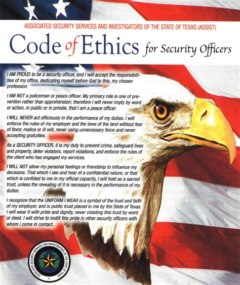 Officer Code by Security Officer Code Of Ethics