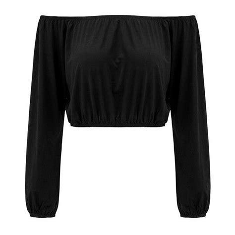 Luxury Top Blouse Crop Bludru yoins black shoulder sleeves crop top 16