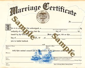 Oregon State Marriage License Records Marriage Licenses