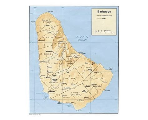 political map of barbados maps of barbados detailed map of barbados in