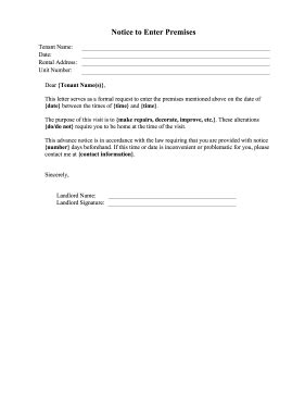 Landlord Notice To Enter Premises Template Tenant Newsletter Template