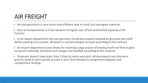 air freight operations