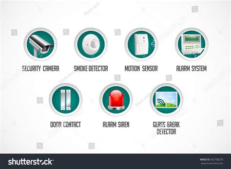 home security system icons motion detector stock vector