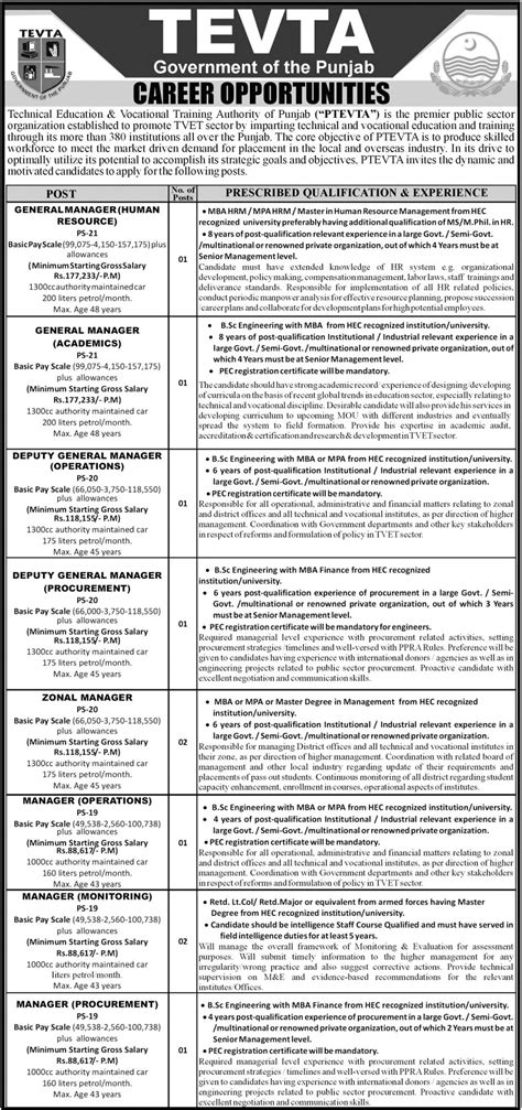 Bsc Mba Salary by Tevta 2017 Punjab Technical Education Vocational