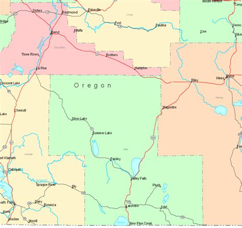 oregon state cus map map of oregon central south