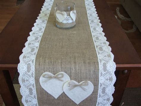 burlap table runner with lace burlap table runner with lace and hearts wedding table