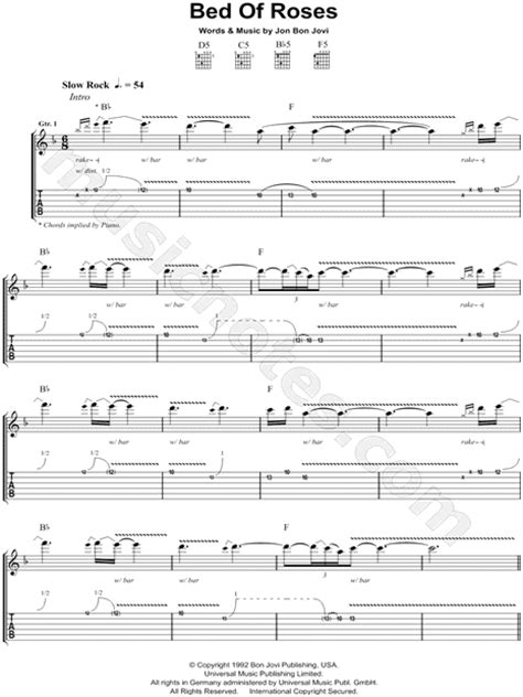 bed of roses chords bon jovi quot bed of roses quot guitar tab in f major download