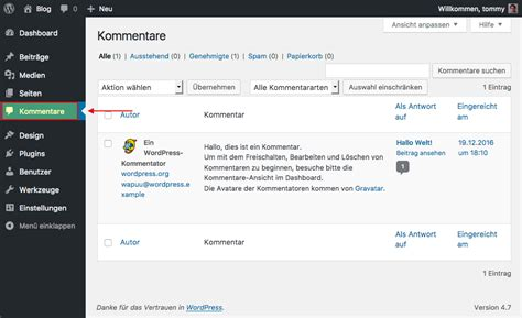 wordpress kommentare layout wordpress anleitung teil 2 der wordpress admin bereich