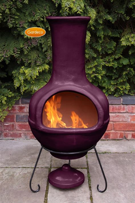 Mexican Outdoor Fireplace Chiminea colima mexican chiminea aubergine jumbo in the garden