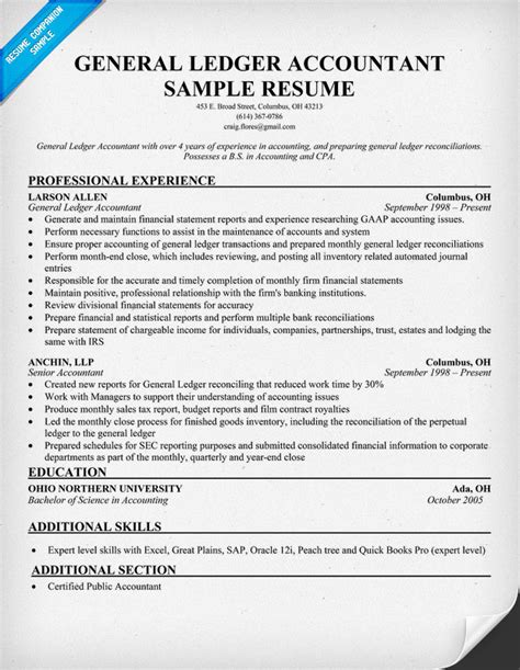 general ledger accountant resume sle home gt business gt accounting gt general accounting tips