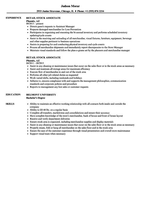 Stockroom Assistant Sle Resume by Stockroom Assistant Sle Resume Event Specialist Sle Resume Sle Resume Cover Letters