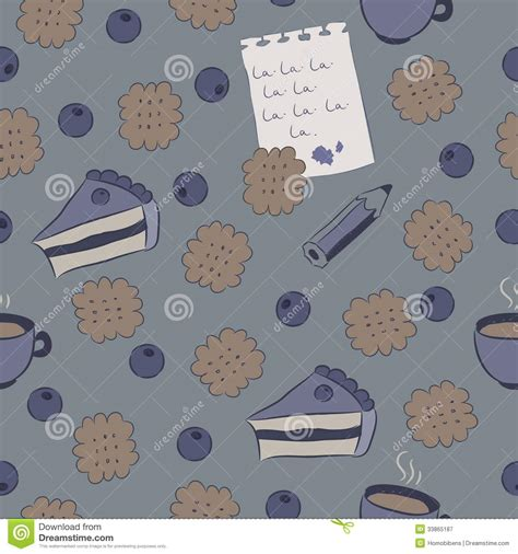 pattern writing blueberry publication seamless pattern with cakes blueberry and coffee royalty
