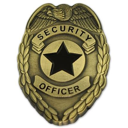 gold security officer badge lapel pin | public services