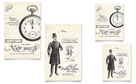 vintage note card template vintage new year s note card template design