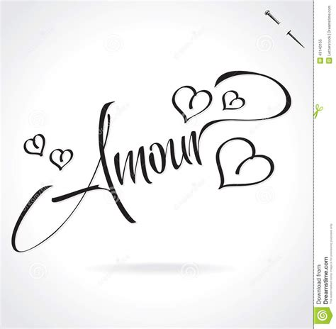 Handmade Lettering - amour lettering vector stock vector image 49140155