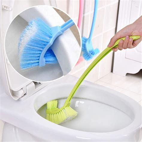 2016 Plastic Long Handle Toilet Bowl Scrub Double Side Bathroom Cleaning Accessories