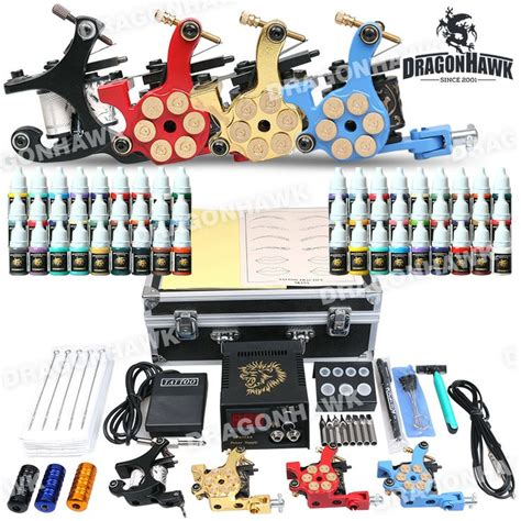 tattoo equipment and tattoo supplies professional kit 4 machine gun power supply 56