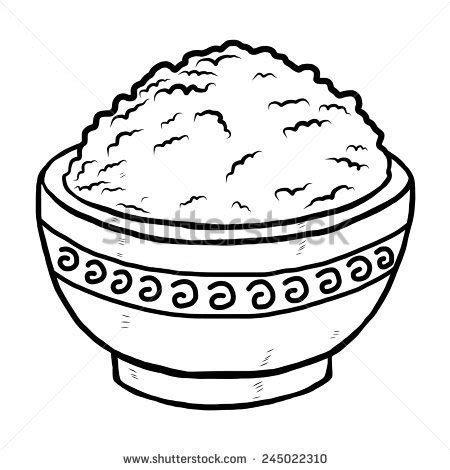 Rice Outline by Rice In Bowl Vector And Illustration Black And White Sketch Style