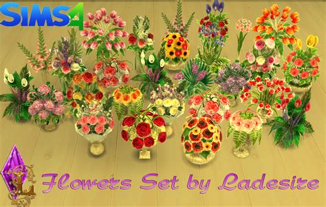 Set Flower ladesire s creative corner ts4 flowers set by ladesire