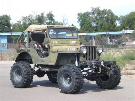 willys jeep lifted lifted jeep 1951 willy s jeep m38 cj2 rock climber v 8