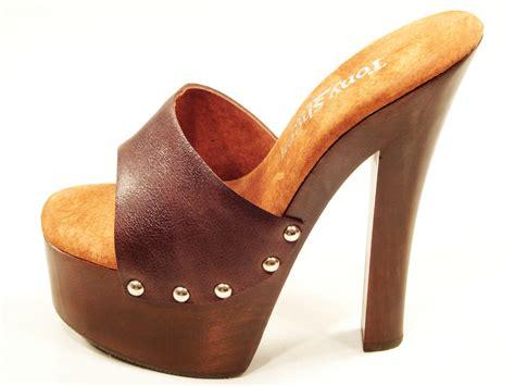 tony shoes brown high heel wood platform slip on