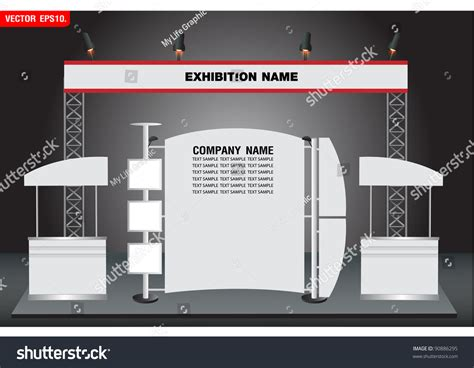 exhibition stand design template blank trade exhibition and promotion stand vector