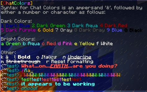 minecraft chat color codes chatcolors chat related minecraft bukkit plugins curse